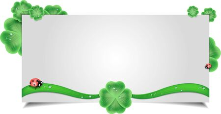 clover background: clover background with a ladybug vector