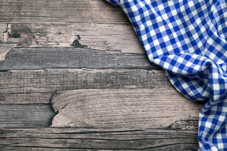tablecloth: checkered fabric blue Stock Photo