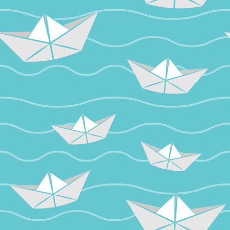 seamless vector pattern paper boat
