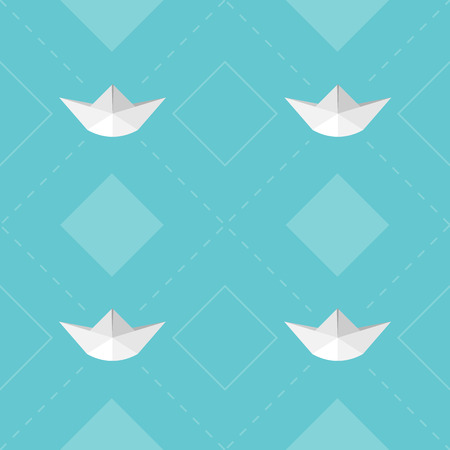 seamless vector pattern paper boat Vector