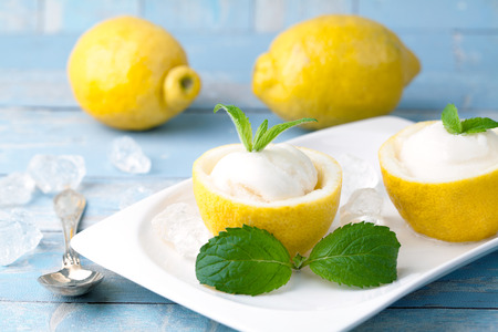 lemon sorbet ice cream with lemons