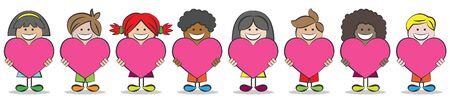 Los niños con diferentes culturas y los corazones de vectores