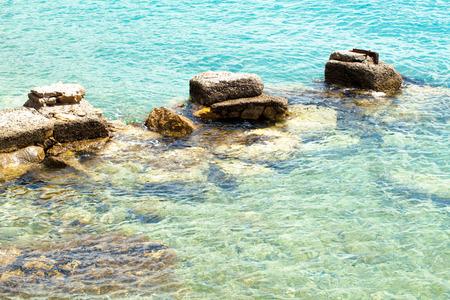 lebanon beach: Blue Sea with stones Stock Photo