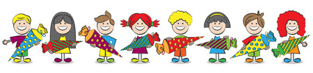 preschool children: back to school children vector Illustration