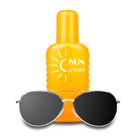 isolated sun cream with sunglasses Stock Photo