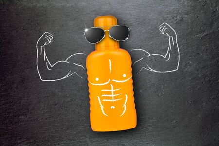 sun lotion: Sun Lotion with muscle arms and sunglasses illustration