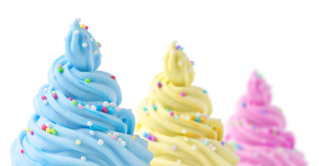 cream color: colorful soft ice cream on a white background