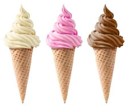 helado cucurucho: diferentes tipos de helados en un gofres aislados sobre fondo blanco Foto de archivo