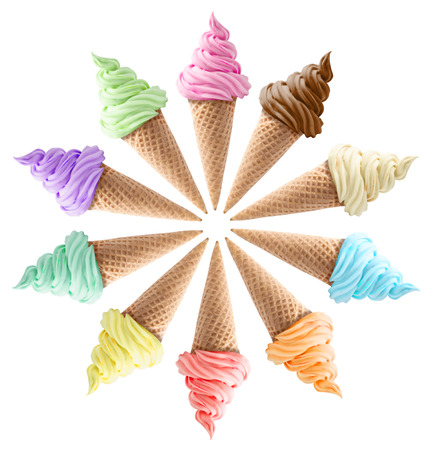 isolated mixed ice creams in cones on white background