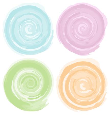green swirl: watercolor circles vector illustration set Illustration
