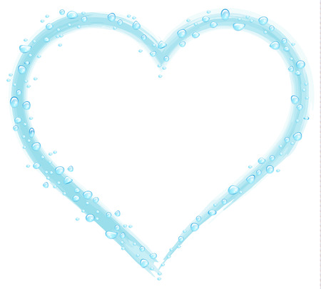 Water drops on a blue heart drawn on a white background