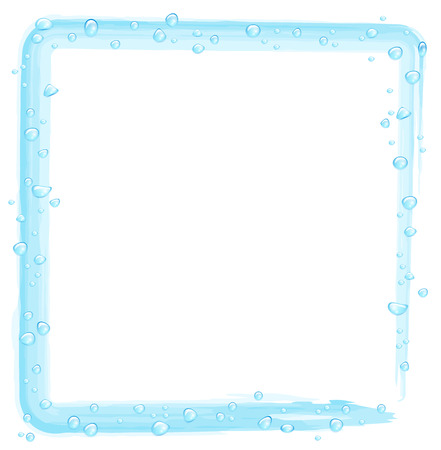 wet cleaning: Water drops on a blue drawn frame on a white background Illustration