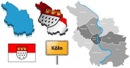 rhine westphalia: cologne map with districts, flag and place-name sign