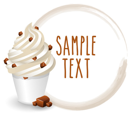 chocolate chip: soft ice cream chocolate chip vector on white background