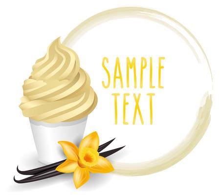 soft ice: soft ice cream vanilla vector on white background Illustration
