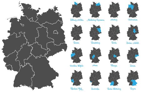 feathery: germany map with feathery vector set