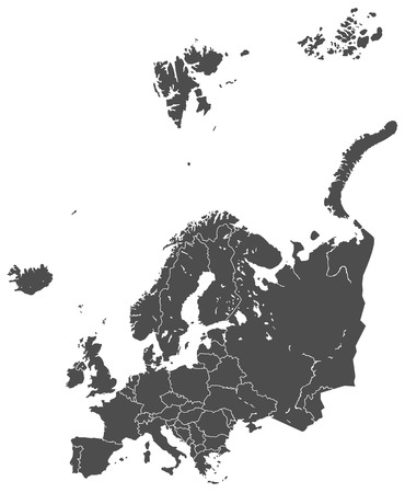 europe map vector gray