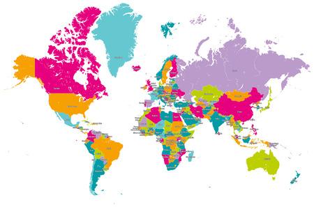 mappa del mondo vettoriale con i paesi Vettoriali