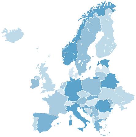 europa: europa mapa vectorial Vectores