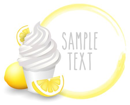 soft ice: soft ice cream lemon vector on white background Illustration
