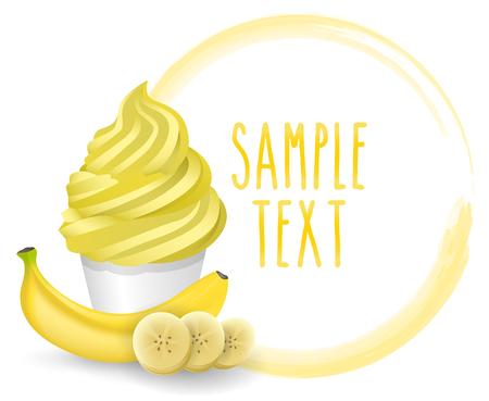 soft ice: soft ice cream banana vector on white background