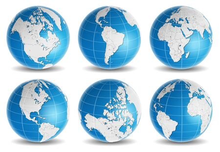 map of asia: globe earth world map vector set