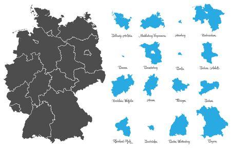 deutschland karte: Deutschland-Karte mit gefiederten Vektor-Set