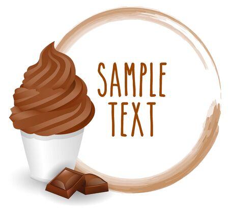 soft ice: soft ice cream chocolate vector on white background