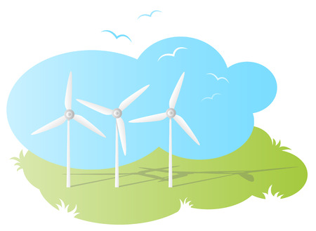 force of the wind: wind farm vector Illustration