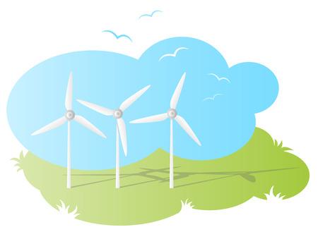 wind farm: wind farm vector Illustration