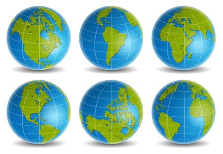earth globe: earth globe world map vector set