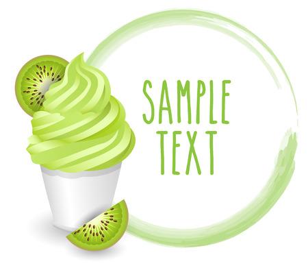 soft ice: soft ice cream kiwi vector on white background