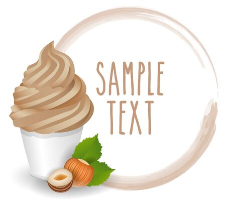 soft ice: soft ice cream nuts vector on white background