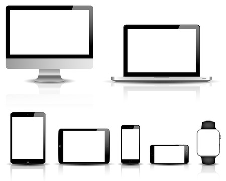 responsieve web design vector set Stock Illustratie