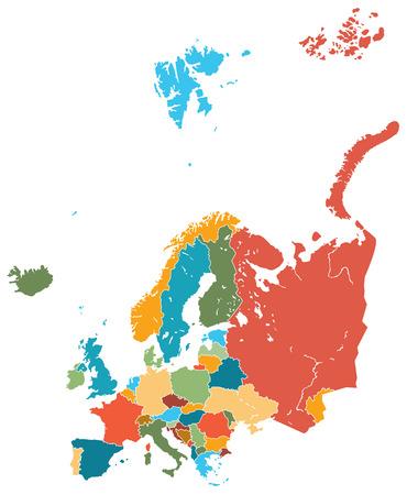 mapa de europa: europa mapa vectorial colorido