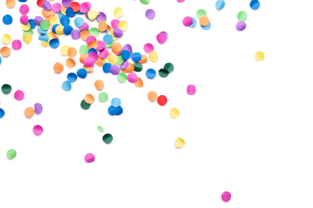 colorful confetti on white background Foto de archivo