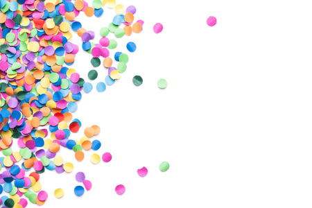 colorful confetti on white background Banco de Imagens