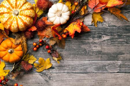 cuerno de la abundancia: fondo del otoño con las calabazas Foto de archivo