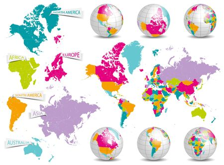 earth globe: world map and earth globe vector set Stock Photo