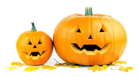 calabazas de halloween: calabazas de halloween en el fondo blanco Foto de archivo