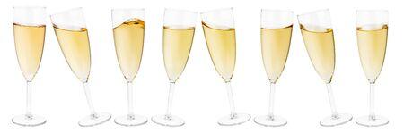 champagne glasses: sparkling wine glasses on white background