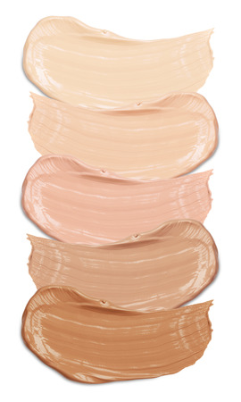 natural make up: foundation swatches on white background