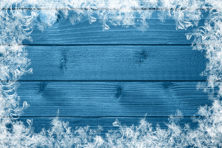 blue wooden winter background