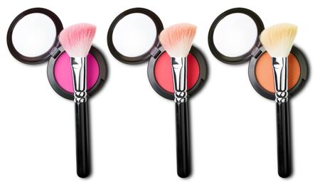 blush: makeup brush with blush set Stock Photo