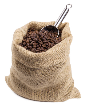 filled: coffee sack filled with coffee beans Stock Photo