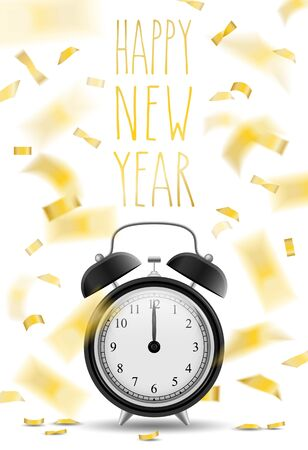 new years eve: happy new year clock vector