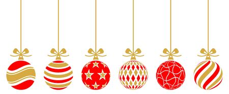 retro christmas: christmas baubles golden red