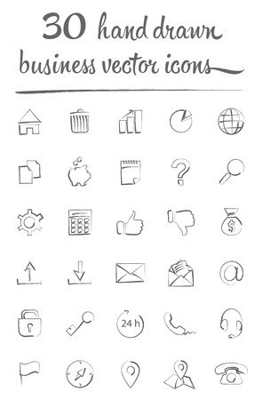 phone hand: business hand drawn vector icons set