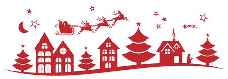 papa noel en trineo: Navidad invierno paisaje vector Vectores