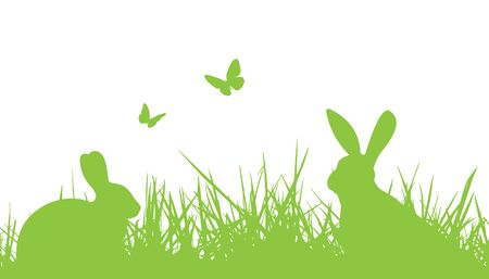 rabbit silhouette: easter bunnies silhouette in grass